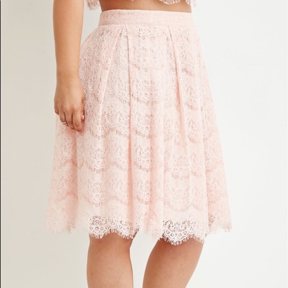 daa69ce75425aa Forever 21 Skirts | F21 Plus Size Pink Lace Skirt 2x Nwt | Poshmark